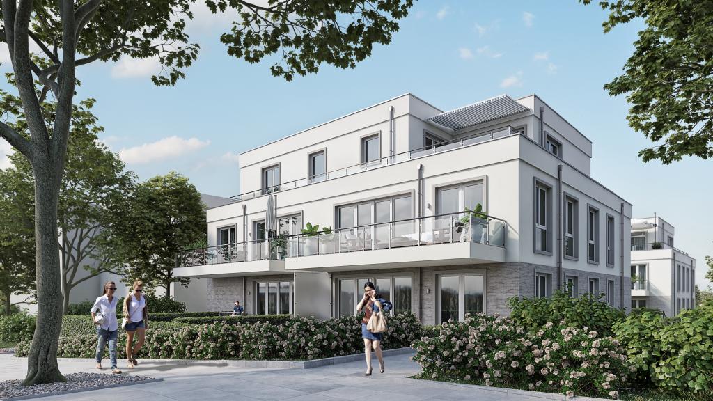 Eine 3D Visualisierung eines Mehrfamilienhauses.